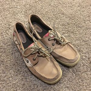 Sperry plaid and tan loafers size 8M